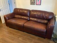 Leather Sofa & Chair Free to Collect
