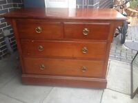 Huge antique chest of drawers / draws vintage with glass top if wanted