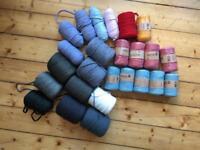 Assortment of Tek-Tek T-Shirt yarn, blue, grey mustard, red, pink , white , green