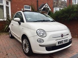Fiat 500 1.2 LOUNGE WHITE Petrol Full Service History and rcpts Cream Int 2010 HPI clear 83,000m
