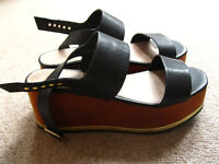 Asos Black and Wood-look Platform Sandals with Gold Trimming