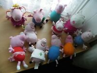 Peppa Pig Soft Bundle of 11 Pigs-Incl Peppa,George,Mum,Dad,Suzie - VGC
