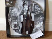 New in box Audrey Hepburn wall clock