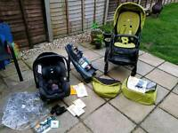 Joie travel system; pram, car seat, raincover and I-AnchorFix