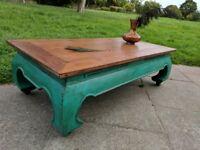 Rustic boho opium coffee table. Peacock green shabby chic.