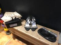 Genuine Gina black leather diamanté heels shoes & matching clutch bag uk 37.5