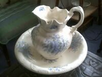 Decorative china Vintage jug and bowl Wash Stand set with forget me knot design c1950