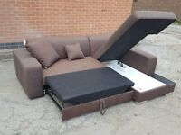 Lovely Brand New brown corner sofa bed with storage. Can deliver