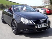 VW EOS 2.0 TDI SPORT CONVERTIBLE, 2007 '57 REG, TURBO DIESEL, 6 SPEED, BLACK, RED LEATHER, SUPERB