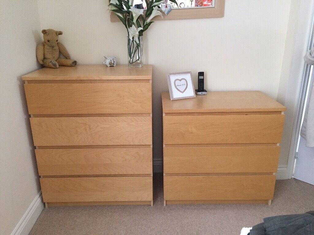 Malm Beach 4 Drawer And 3 Chest Of Drawers Excellent Condition