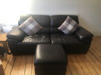 Brown Italian leather 3-seater sofa, armchair and storage footstool
