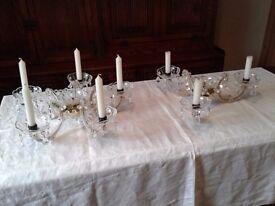2 X GLASS CANDLEABRA CANDLESTICK HOLDERS DISPLAY WEDDING SHOP PROP