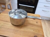 Stainless steel 1.5litre saucepan with lid.