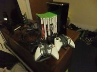 Xbox 360 Bundle Including Console, 4 Controllers, 9 Games and a Plug and Play kit