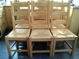 6 heavy beech dining chairs