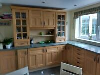 Kitchen units & wall cupboards including appliances,fridge,freezer,dish washer,oven,microwave & hob