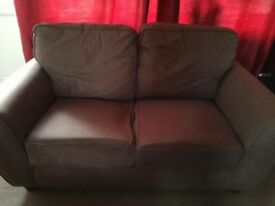 2x 2 Seater Brown Fabric Couches