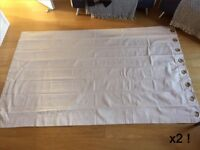 Curtains pair, John Lewis eyelet off-white (shade of pink). Each is W142cm, H228cm