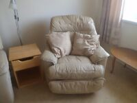 TWO BEIGE LEATHER RECLINER ARMCHAIRS