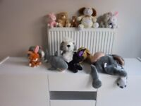 Collection of soft toys for sale.
