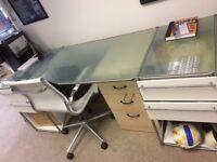 7 x Glass / Stainless steel custom made desks for sale & shelves £150