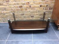 Ercol rectangular coffee table with a glass top