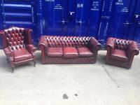 Superior DELUXE chesterfield 3 piece suite oxblood vintage antique leather