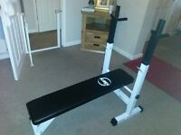 Brand new white steel frame weight bench with built in dip bar