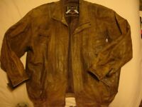 Mens LLD Leather Coat Jacket Size XL