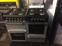 Black & silver flavel 100cm eight burners dual fuel cooker grill & double oven with guarantee