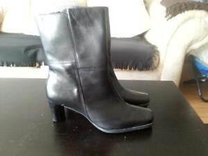 Naturalizer leather dress boots lined BLACK SIZE 9m fit a 8