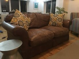 Laura Ashley Brown Leather 2 seater sofa