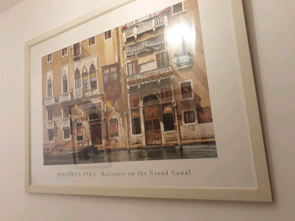 Large 'venice' print in white frame