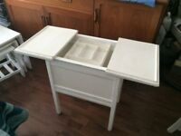 LOVELY UNUSUAL SIDE TABLE WITH INNER TRAY & LARGE STORAGE SPACE, Ideal sewing/craft's art etc £38
