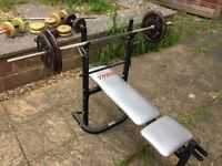 Bench press, weights and dumbbells