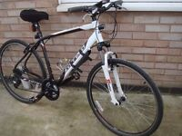 CARRERA CROSSFIRE ONE MENS MOUNTAIN BIKE CYCLE , 21sp , VGC , WHITE/BLACK , LARGE , EXTRAS