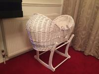 Posh White MOTHER CARE Snug Baby Moses Basket..Excellent Condition...Romford RM5