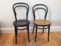 2 original Victorian Bentwood bistro dining chairs