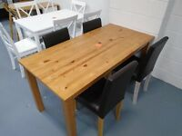 Brand New Table And 4 Black Leather Chairs. Already Built And Can Deliver