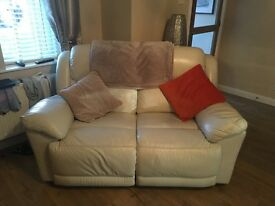 2 and 3 seater recliner Leather sofa -cream