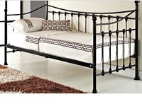 Brand New Black Metal Single Day Bed with Mattress