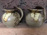 Pair of studio pottery vases? Hand painted? Very pretty