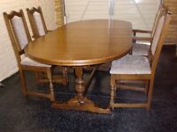 Old Charm Lancaster light Oak Extending Table And 4 Chairs