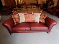 Lovely Tetrad Old Homer Leather & Fabric Sofa