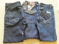 Mens Designer Jeans, 3 pairs 34/34, New/Ex condition, £35