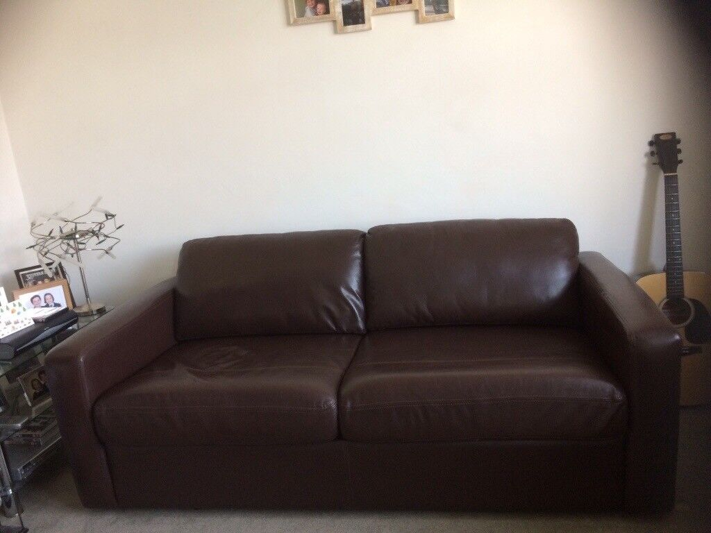 Marks and Spencer brown leather sofa bed