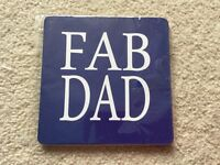 ' Fab Dad ' blue coffee tea drinks coaster mat Brand new