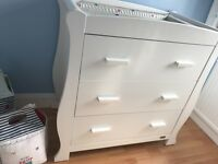 Obaby white cotbed and set of drawers