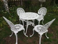 CAST ALUMNIUM GARDEN / PATIO SET -- TABLE AND 4 CHAIRS --