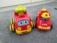 2 toy fire engines